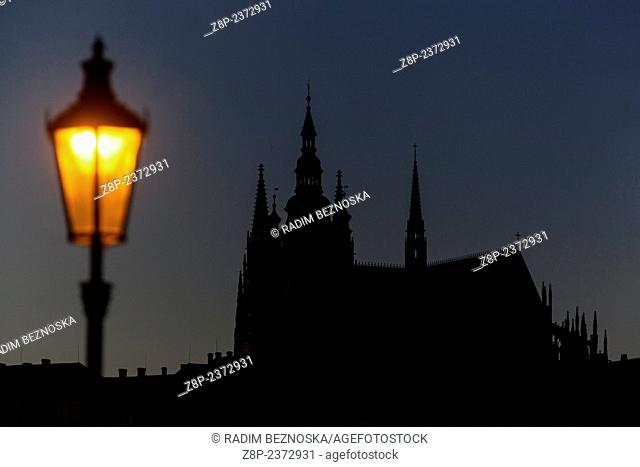 Prague Castle with lamp
