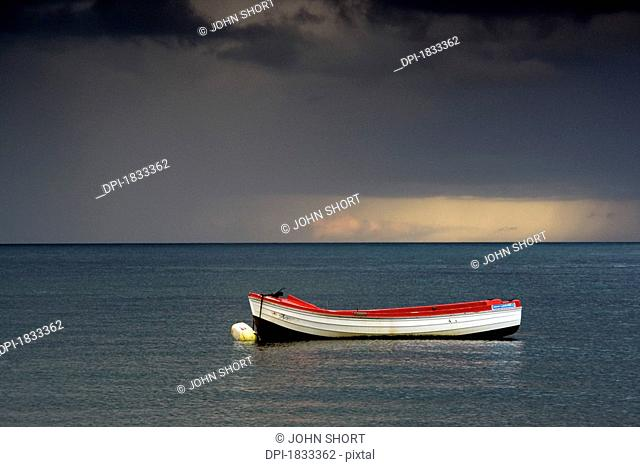 Empty boat floating in the North Sea, Sunderland, Tyne and Wear, England