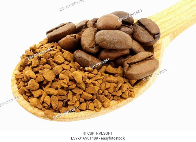 Ground coffee with coffee beans in wooden spoon on white background