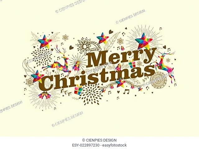 Merry Christmas vintage retro greeting card