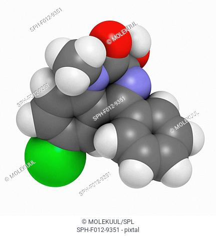 Temazepam benzodiazepine drug molecule. Used as hypnotic, anxiolytic and anticonvulsant drug. Atoms are represented as spheres and are colour coded: hydrogen...