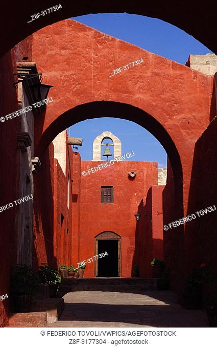 Among cloisters and narrow streets of the outdoors inside the convent. Santa Catalina, Arequipa, Peru