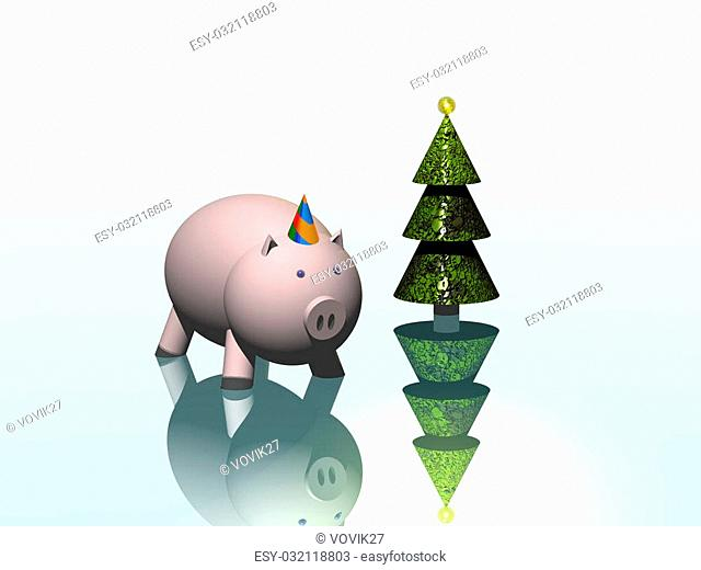 Piggy bank. Year of a pig. Christmas ornaments. 3D