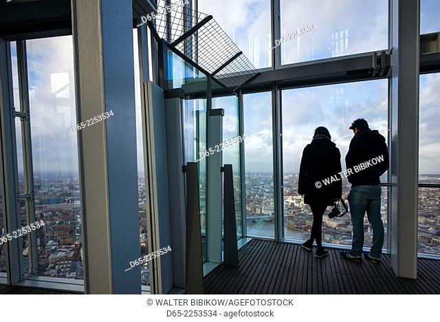 England, London, The Shard building, the View from the Shard observation platform, people, NR
