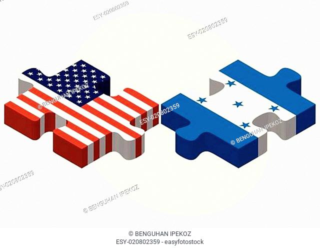 USA and Honduras Flags in puzzle