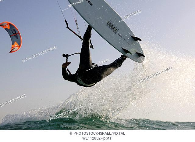 Kitesurfing in the Mediterranean sea Photographed from within the water