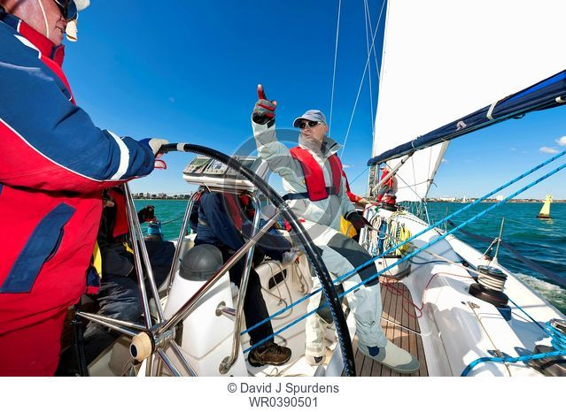An Offshore Yacht crew getting ready to race
