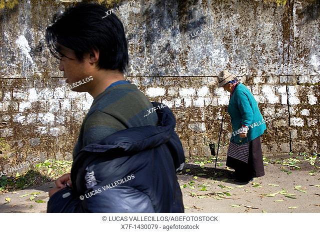 Tibetans walking near Namgyal Monastery,McLeod Ganj, Dharamsala, Himachal Pradesh state, India, Asia