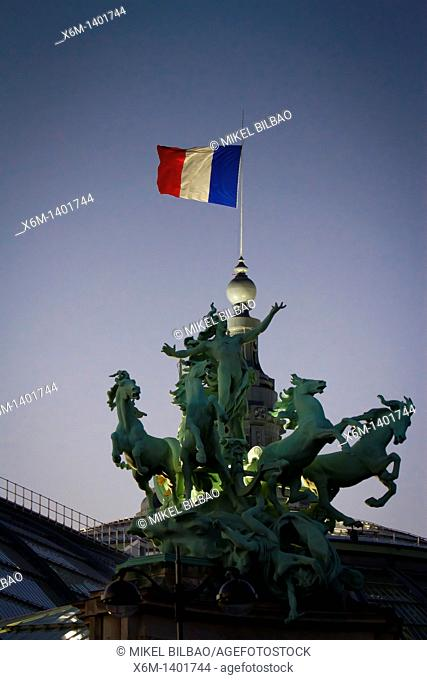 Sculpture and flag in the Grand Palais  Paris, France, Europe