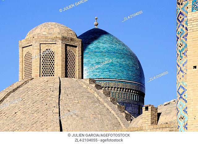 Turquoise dome of the Mir-i-Arab Madrasa. Uzbekistan, Bukhara