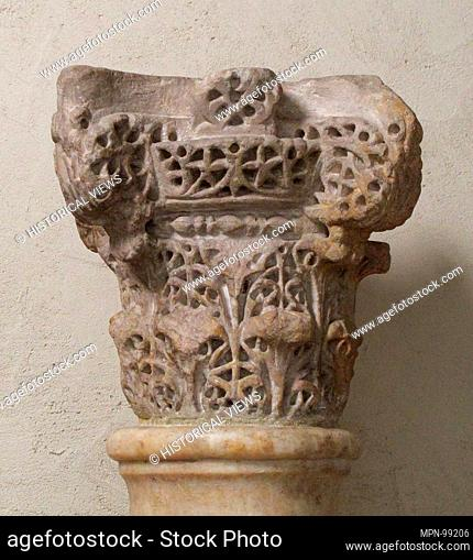 Capital. Date: ca. 960; Geography: Made in Cordoba, Andalusia, Spain; Culture: Spanish; Medium: Stone; Dimensions: Overall: 8 1/8 x 9 x 9 in. (20