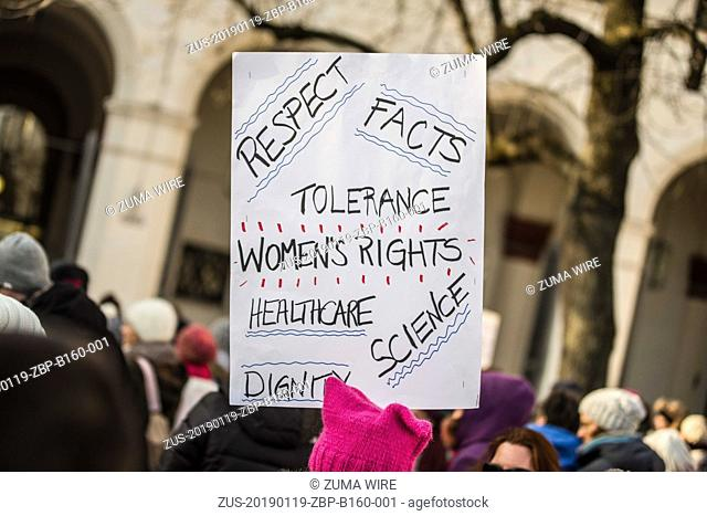 January 19, 2019 - Munich, Bavaria, Germany - A sign with text around tolerance, women's rights, healthcare, science, and facts held at the 2019 Women's March...