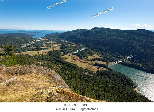 Mountain top views towards Fulford Harbour, from Mt Maxwell. Salt Spring Island, British Columbia, Canada