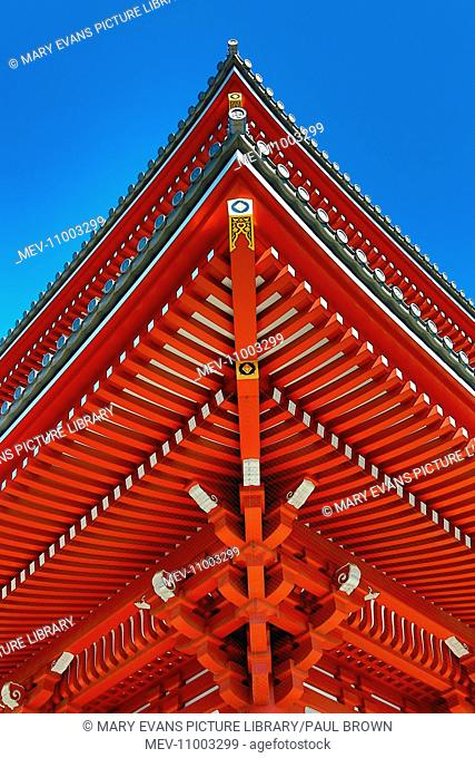Traditional wooden roof at the Shinto Shrine at Senso-Ji Buddhist Temple in Asakusa in Tokyo, Japan