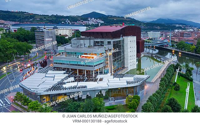 Euskalduna Palace, Nervion river, Bilbao, Bizkaia, Basque Country, Spain, Europe
