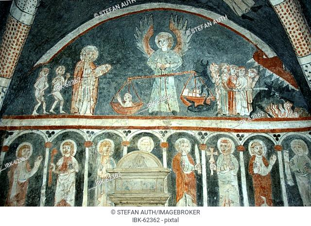 Early gothic fresco showing heavenly judgement in church St. Vitus in Kottingwörth Altmühltal Bavaria Germany