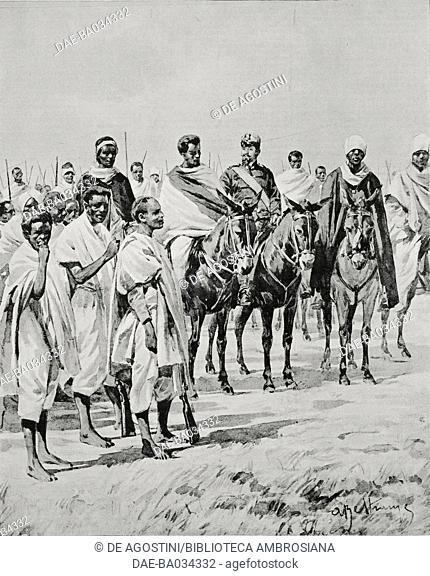 Leaders of the Serae militia under Captain Mulazzani, Italo-Abyssinian war, Ethiopia, drawing by Achille Beltrame (1871-1945), from L'Illustrazione Italiana