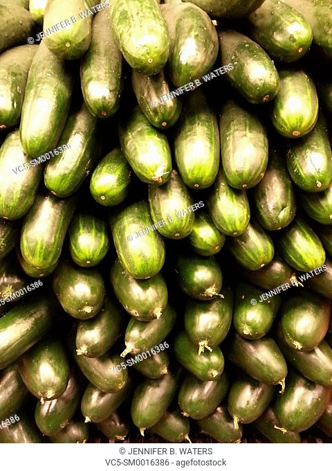 Close-up of cucumbers for sale in a market in Washington State, USA