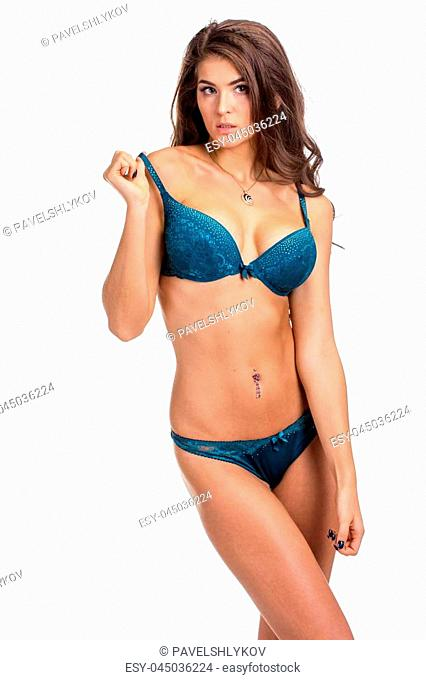 Pretty Slim woman in beautiful lingerie on white background
