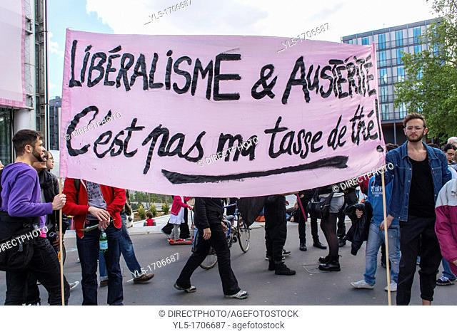 Paris, France, LGBT Group 'Pink Panthers' Holding Banner at May Day March, 'Liberalism and Austerity is not My Cup of Tea'