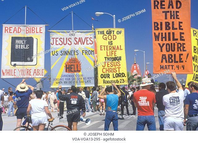 Religious right marchers holding signs, Santa Monica, California