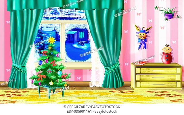 Beautiful Small Christmas Tree in a Living Room with furniture and toys. Handmade illustration in a classic cartoon style