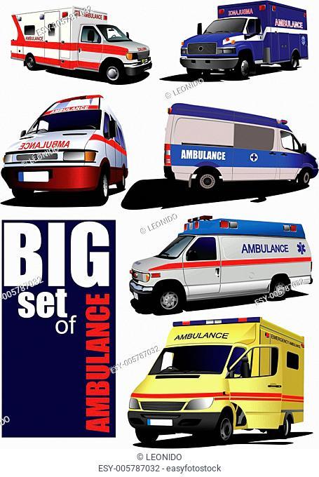 Big set of Modern ambulance va. Colored vector illustration