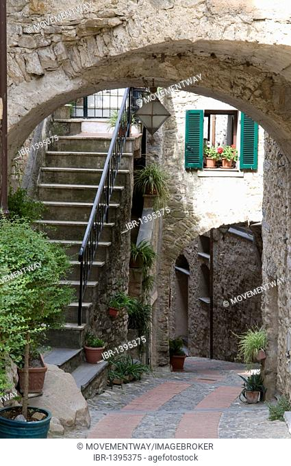 Alleyway in the historic town, mountain village of Dolceacqua, Nervia Valley, Riviera, Liguria, Italy, Europe