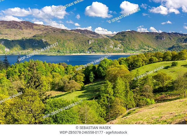 View across Derwent Water towards east, Lake District National Park, Cumbria, England, UK, Europe