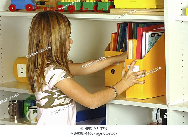 Classrooms, shelves, records, schoolgirl, back-opinion, detail, series, people, 6-10 years, child, schoolchild, girls, school-records, school books, notebooks