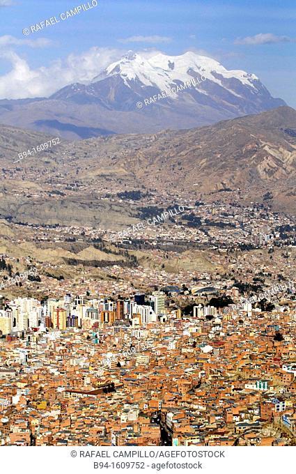 La Paz city from El Alto with Illimani mountain, Bolivia