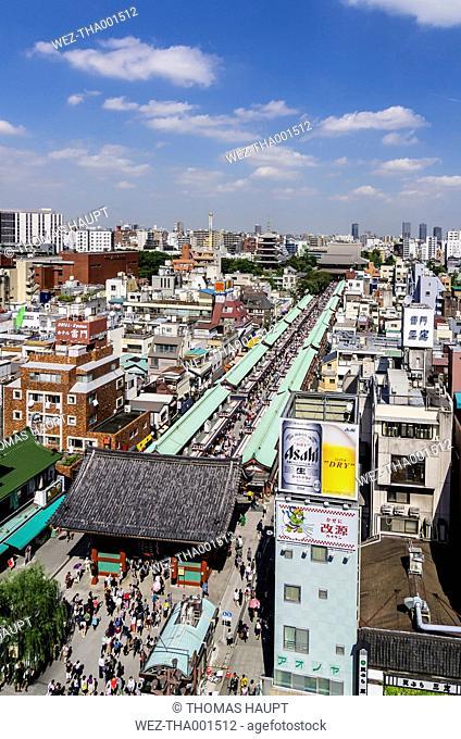 Japan, Tokyo, Cityscape, Asakusa district, Nakamise-dori