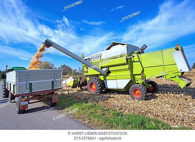 Corn harvesting machines when unloading. Baden Baden. Southern Germany