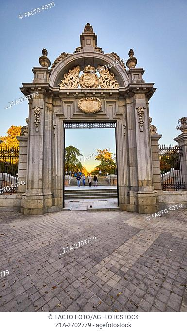 Felipe IV entrance to The Buen Retiro Park. Madrid. Spain