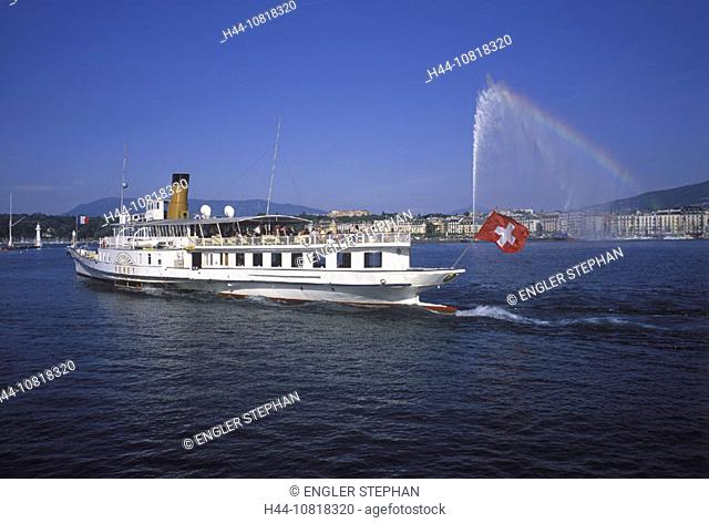 Geneva, town, city, ship CGN, steamboat, Lake Geneva, lake of Geneva, Lac Leman, rainbow, jet, Jet d'Eau, fountain, Sw