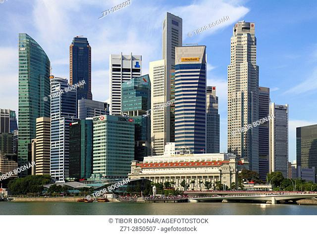 Singapore, Central Business District, skyline, Fullerton Hotel,