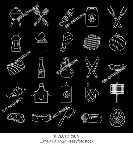 Barbecue grill and food set thin line vector illustration for design and web isolated on black background. Barbecue grill and food vector object for labels