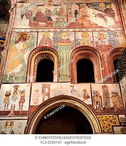 Pictures & images of the Byzantine fresco panels in the Gelati Georgian Orthodox Church of the Virgin, 1106, depicting scenes from the life of Jesus and the...