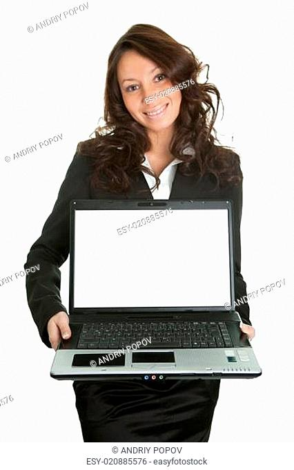 Business woman presenting laptopn