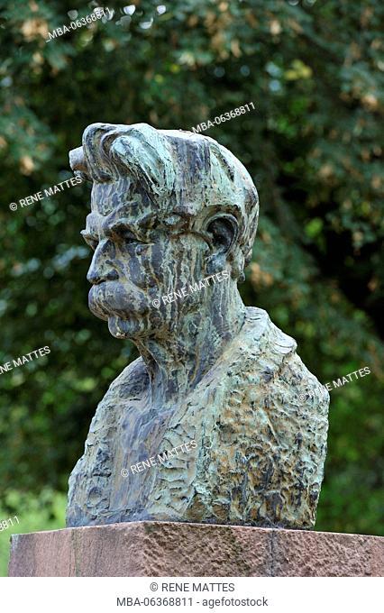 France, Haut Rhin, Alsace Wine Road, Kaysersberg, the bust of Dc Albert Schweitzer