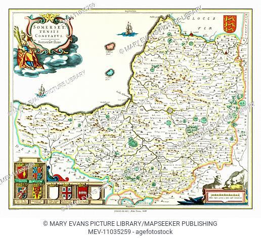 Map of Somerset by Johan Blaeu