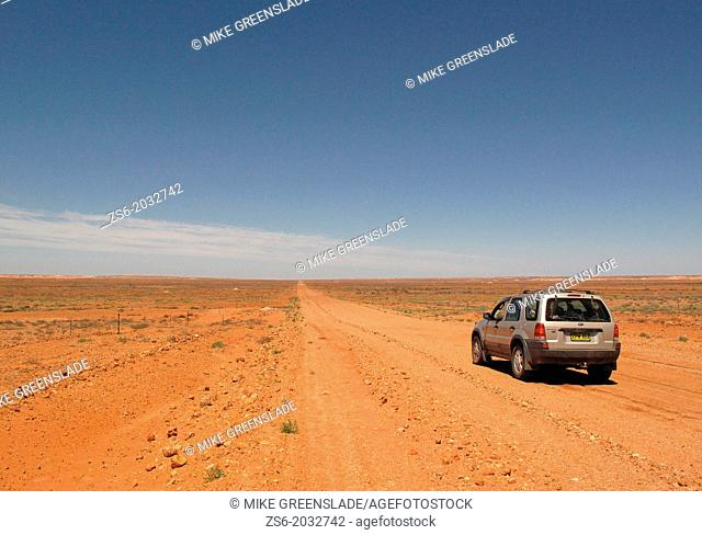 4WD on unsealed road near Coober Pedy, South Australia