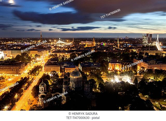 Elevated view of city at dusk