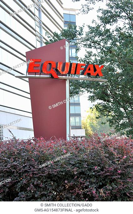 Sign with logo and a portion of the main building are visible at the headquarters of credit bureau Equifax in downtown Atlanta, Georgia, September 20, 2017