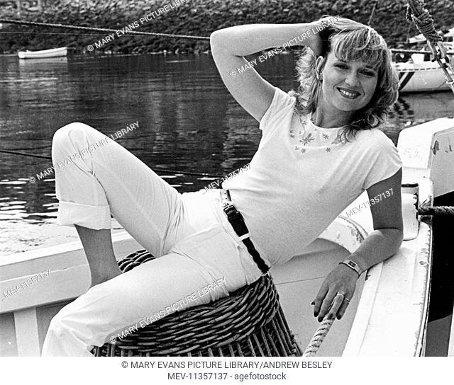 Susan Penhaligon (b. 1949), British actress, at St Ives harbour, Cornwall