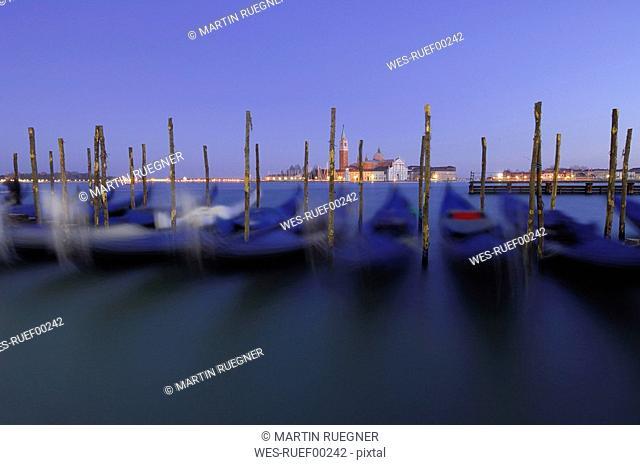 Italy, Venice, San Giorgio Maggiore, Gondolas