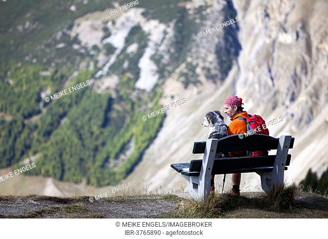 Hiker sitting on a bench next to his dog, near Livigno, Sondrio province, Lombardy, Italy