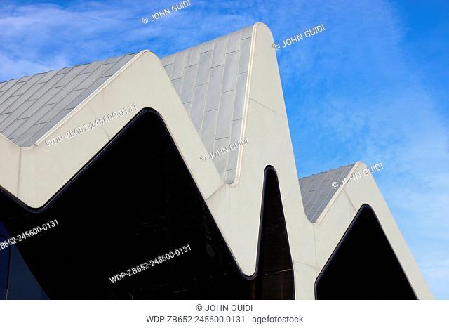 Close-up of The Riverside Museum, Glasgow, Scotland, UK. Designed by architectZaha Hadid.Situatedon the former InglisShipyard