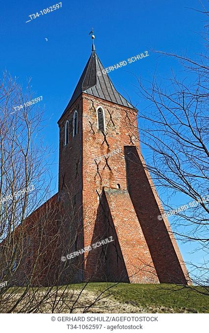 Backsteinkirche St  Stephanus in Westerhever, Schleswug-Holstein, Deutschland , St  Stephanus Church of Westerhever, Schleswig-Holstein, Germany