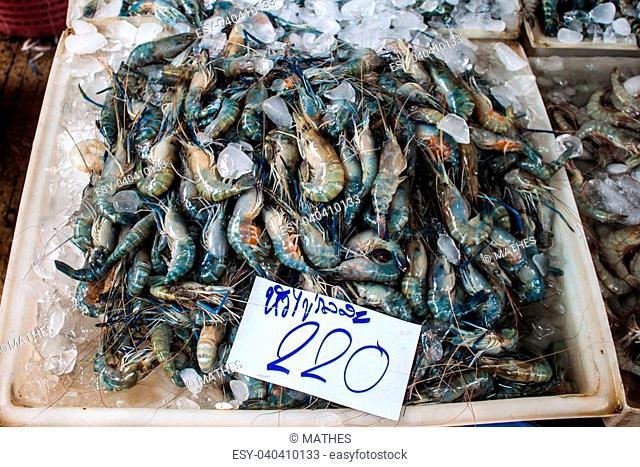Shrimps for sale at fresh food market in Samut Sakhon,Thailand